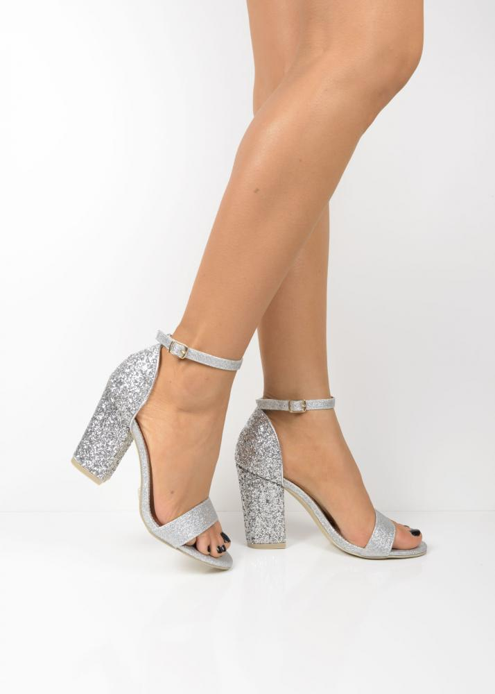 035 Silver Glittery Block Heel Sandals Shoelace Shoes