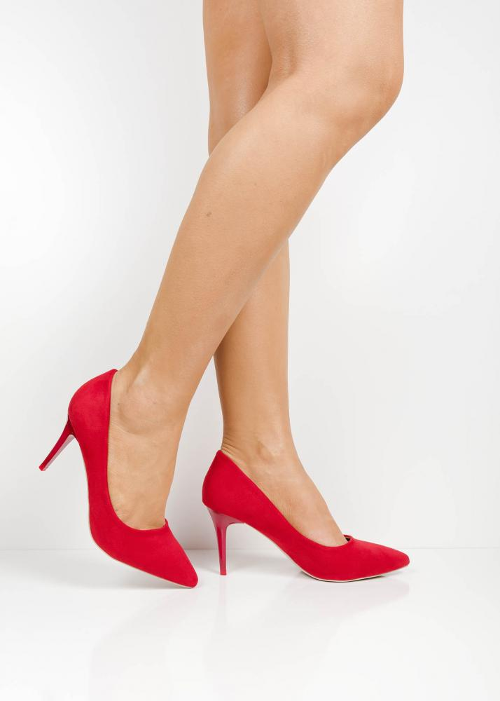 1561aa963ae P6345 Red suede pointed toe high heels | Shoelace Shoes