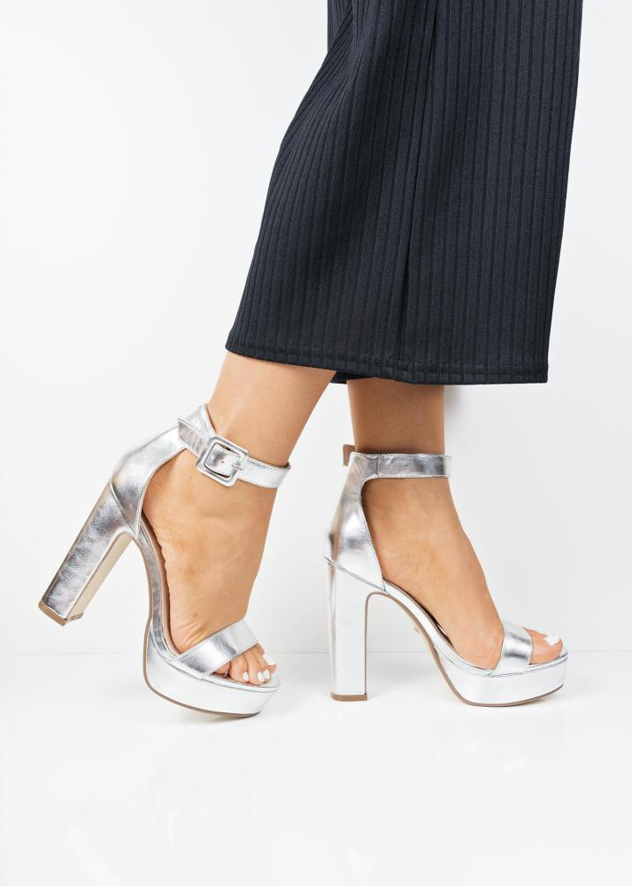 On Clearance latest collection wide selection of colours and designs P63661 Silver metallic platform block heel