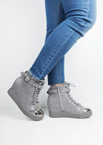 a7f068cc1f02 Xw37348 Grey suede hidden wedge high top trainers
