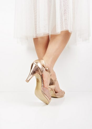 0095382713e 4649 Rose gold t-bar strap mid heel shoes