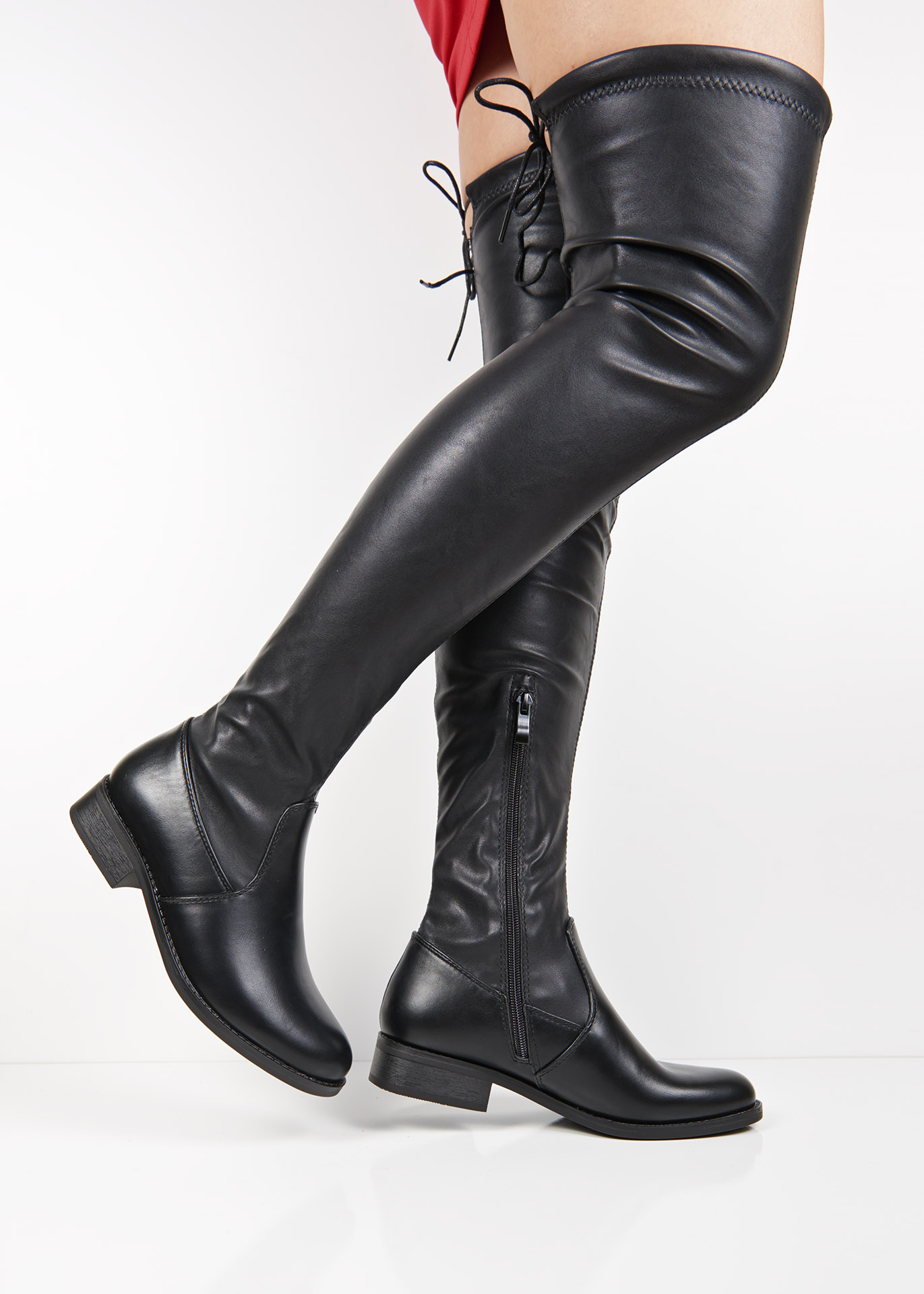 ae3f04188b4 C7189 Black flat over the knee boots