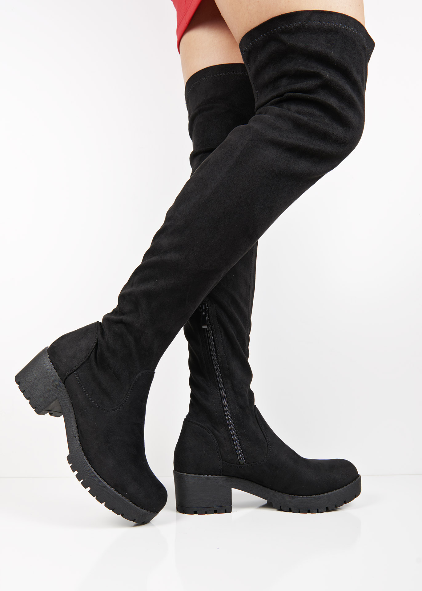 dfdfdeb1968 E4870 Black suede chunky sole over the knee boots