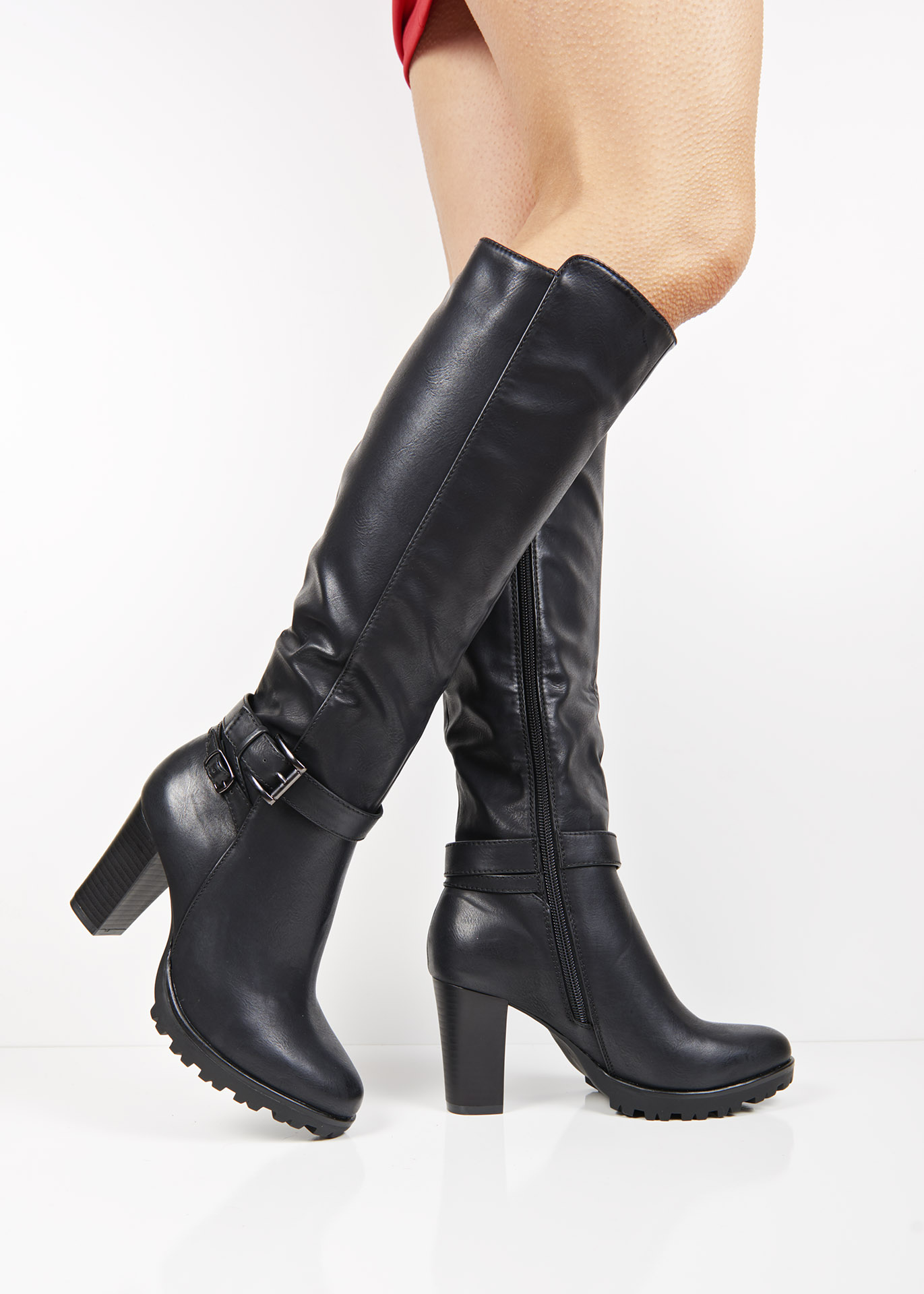 a13eb257320 ... Boots F92 Black buckle block heel knee high boots. 🔍 -33%. Previous   Next