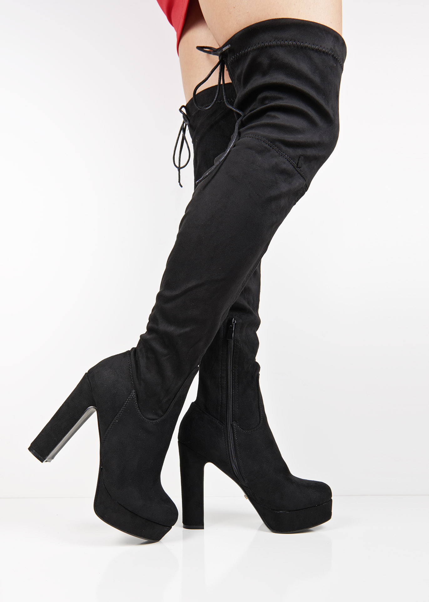 e0630ac024b ... Black suede platform block heel over the knee boots. 🔍 -30%. Previous   Next