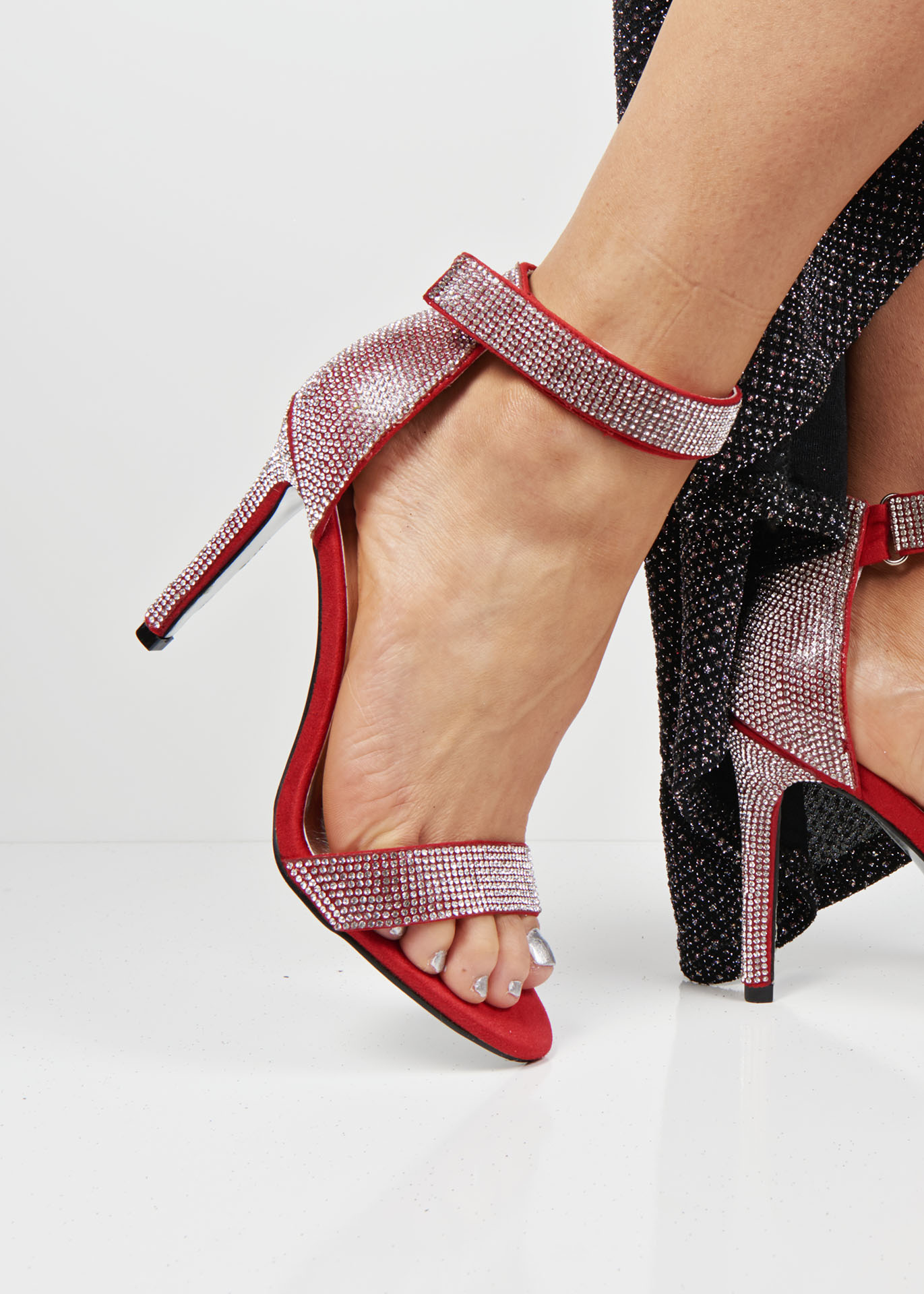 D50 Red Diamond High Heel Sandals Shoelace Shoes