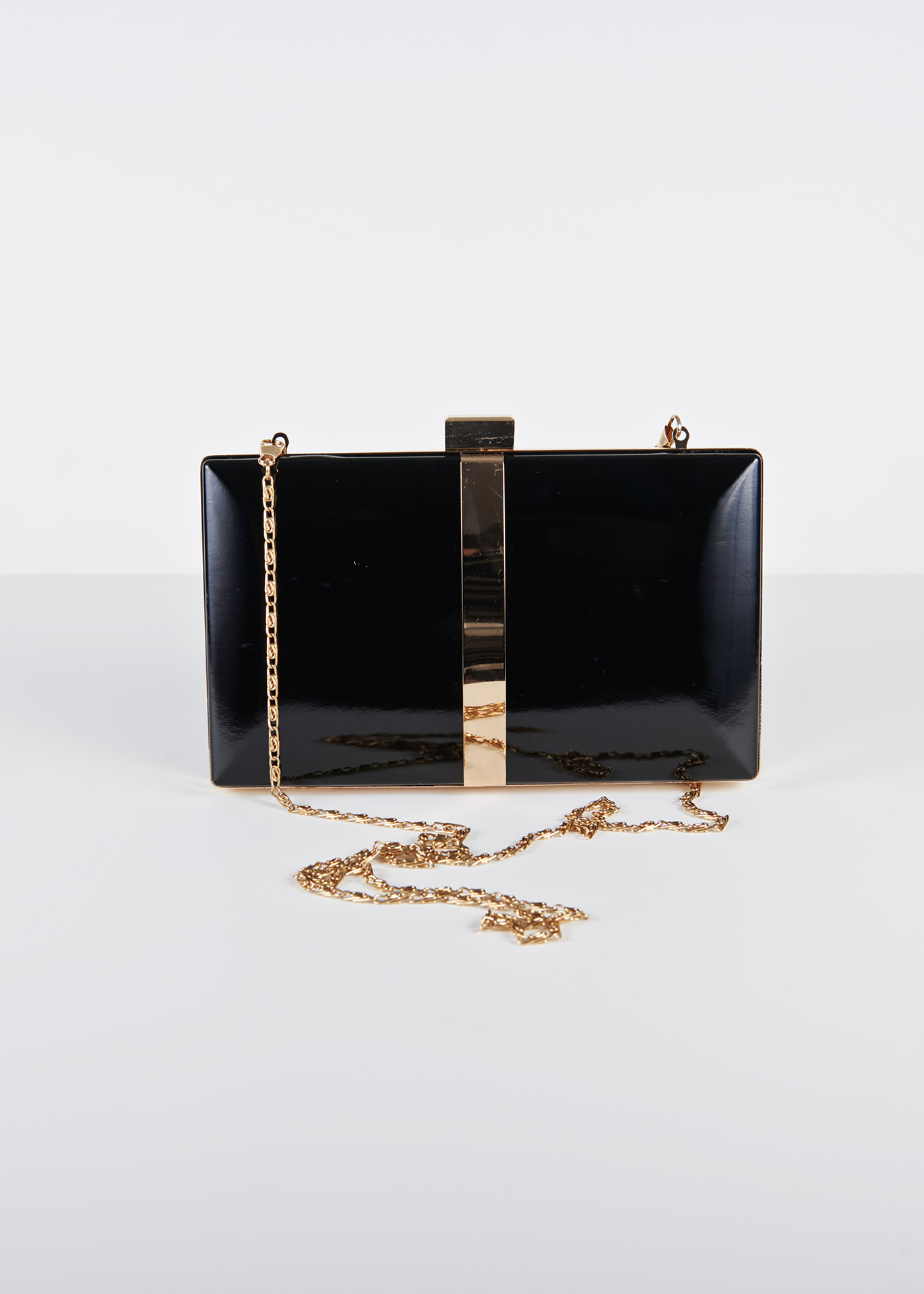 favorable price picked up low price sale Ly1076 Black two toned clutch bag with gold detail