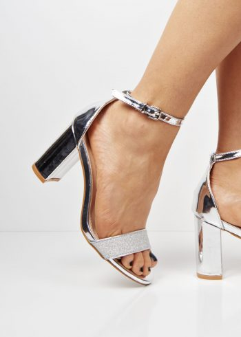 5819162a959 6720 Silver two toned block heel sandals