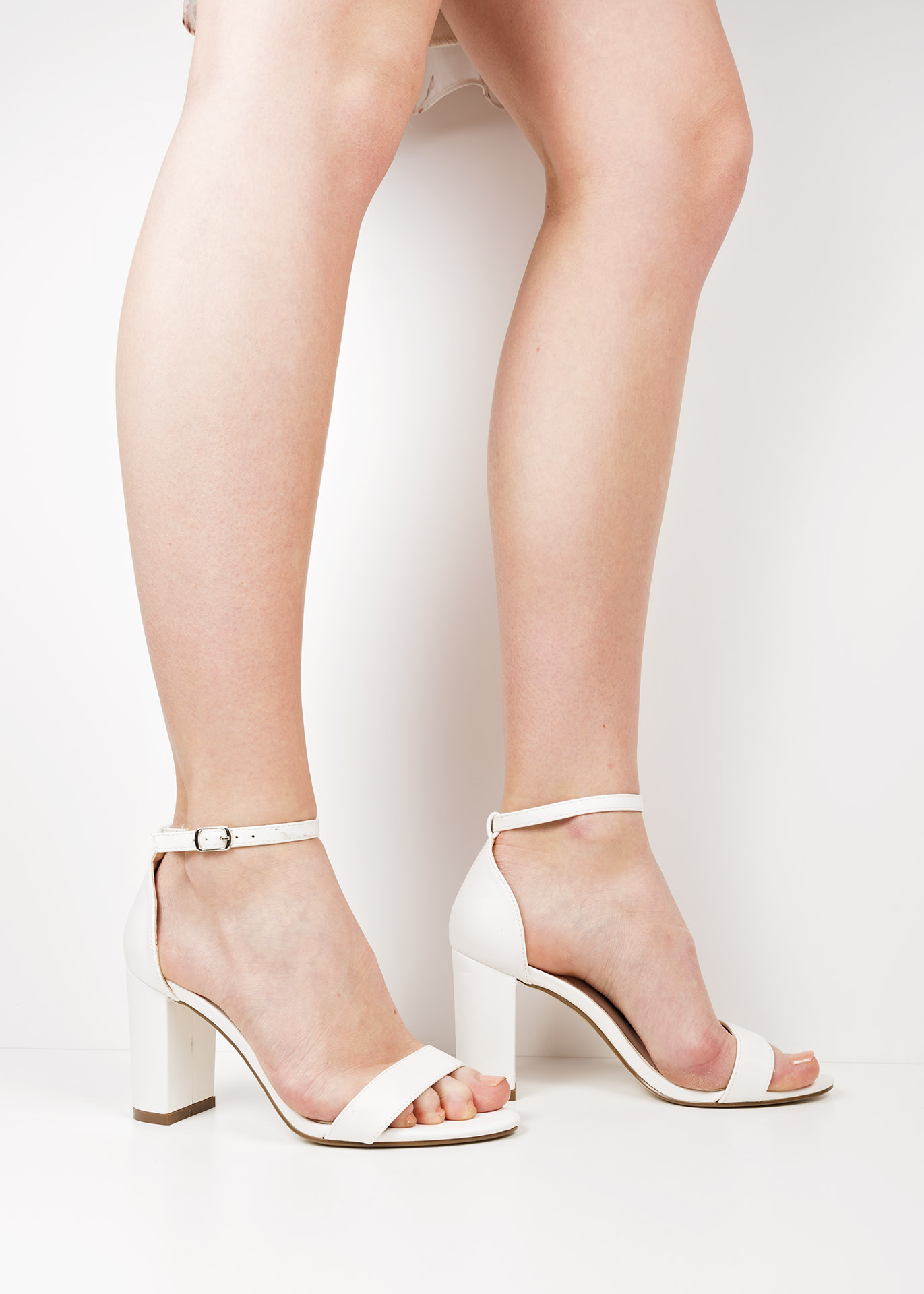 c146806dec P63981 White faux leather block heel sandals
